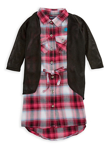 Girls 4-16 Limited Too Plaid Dress with Cardigan Set,MULTI COLOR,large