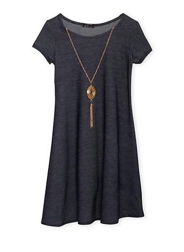 Girls 7-16 Knit Denim Dress with Necklace,INDIGO,large