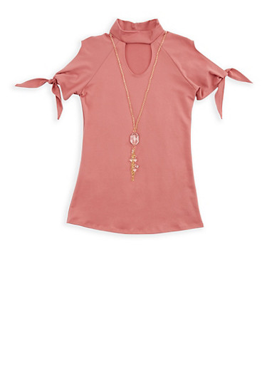 Girls 7-16 Cold Shoulder Top with Detachable Necklace,MAUVE,large