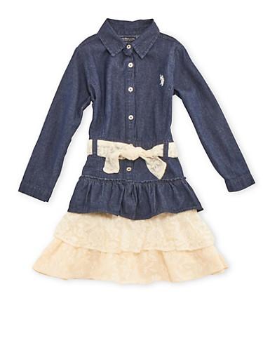 Girls 7-12 Denim Shirt Dress with Lace Belt and Skirt,DARK WASH,large