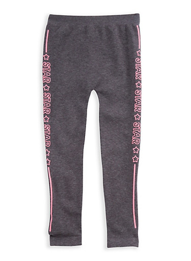 Girls 7-16 Star Graphic Leggings,CHARCOAL,large