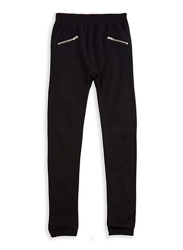 Girls 7-16 Solid Leggings with Zippers,BLACK,large