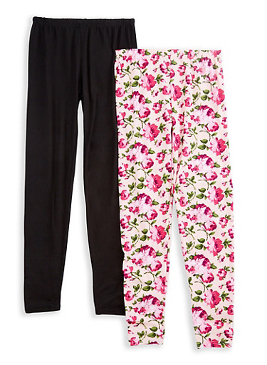 Girls 7-16 Set of 2 Solid and Printed Leggings,PINK,large