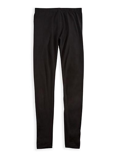 Girls 7-16 Solid Soft Knit Leggings,BLACK,large