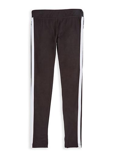 Girls 7-16 Varsity Stripe Leggings,WHITE,large