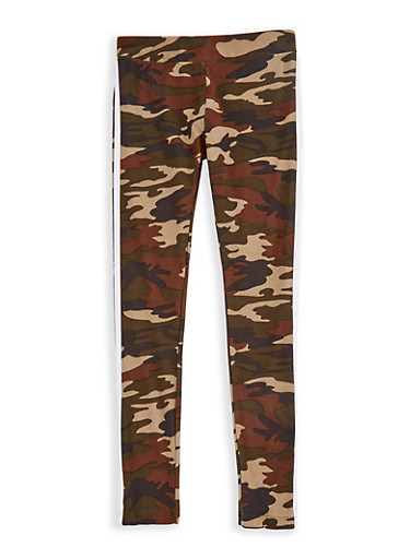 Girls 7-16 Camo Leggings with Varsity Stripe,WHITE,large