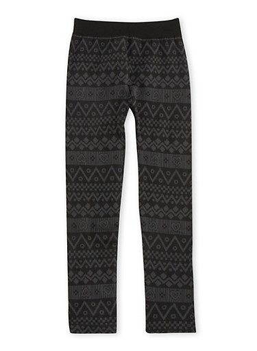 Girls 7-16 Aztec and Hearts Knit Leggings,BLACK,large