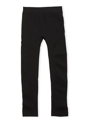 Girls 7-16 Cable Fleece Leggings,BLACK,large