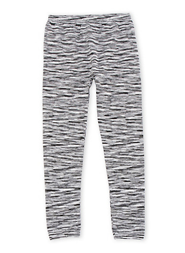 Girls 7-16 Space Dye Leggings,BLACK/WHITE,large