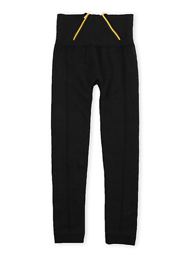 Girls 7-16 High Waisted Leggings with Zipper Accents,BLACK,large