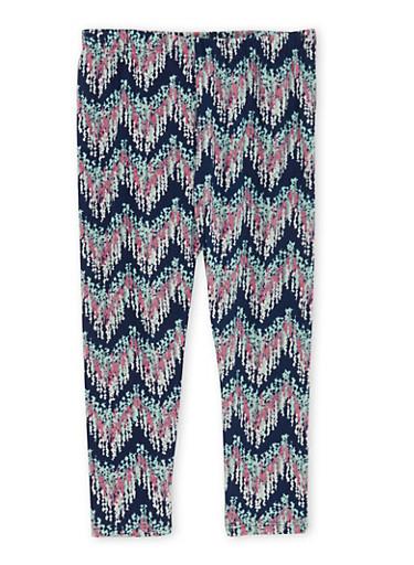 Girls 4-6x Brushed Knit Leggings in Chevron Print,MULTI COLOR,large