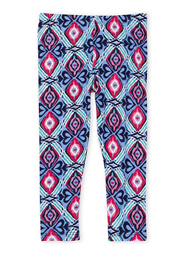 Girls 4-6x Brushed Knit Leggings in Mixed Print,MULTI COLOR,large