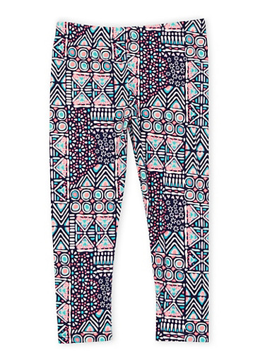 Girls 4-6x Brushed Knit Leggings in Geo Print,MULTI COLOR,large