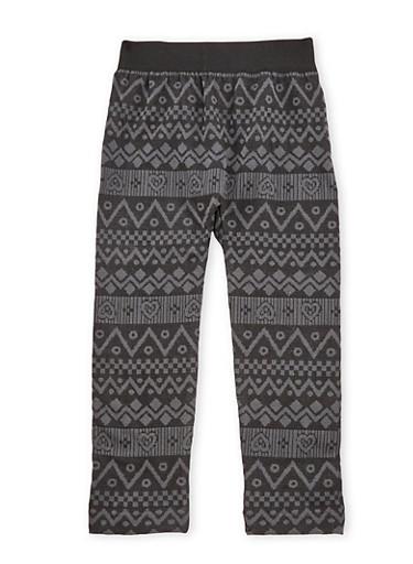 Girls 4-6x Fleece Legging with Chevron Heart Print,BLACK,large