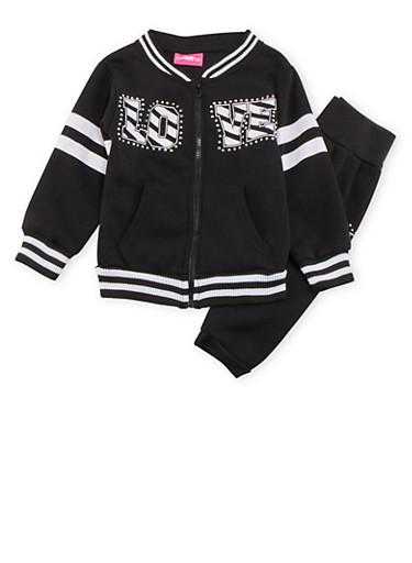 Girls 4-6x Love Print Fleece Jacket and Sweat Pants Set,BLACK,large