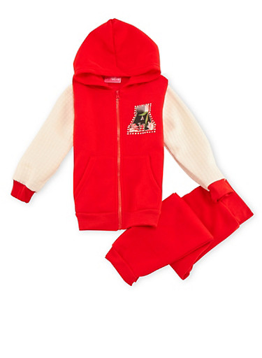 Girls 4-6x Hoodie with Sweatpants Set,RED,large