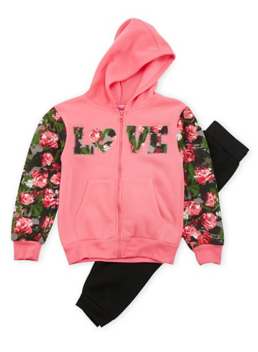 Girls 4-6x Floral Hoodie and Joggers Set,FUCHSIA,large