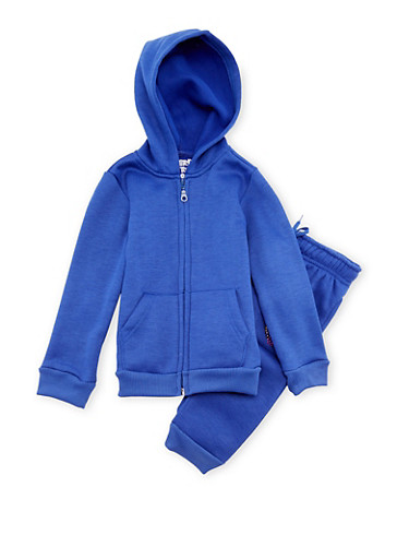 Girls 4-6x Limited Too Emoji Hoodie with Joggers Set,BLUE,large