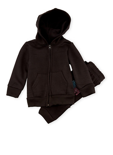 Girls 4-6x Limited Too Love Hoodie and Joggers with Studs,BLACK,large