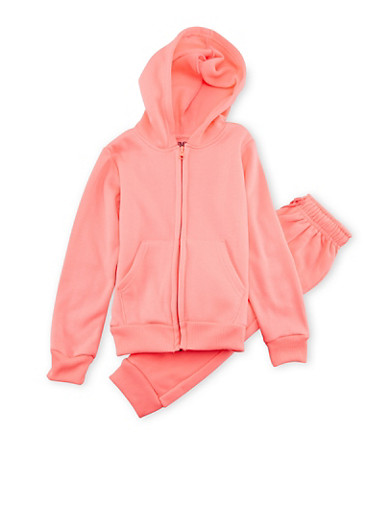 Girls 4-6x Limited Too Hoodie and Joggers Set,NEON PINK,large