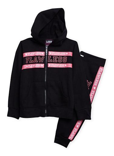 Girls 4-6x Flawless Print Sweatsuit Set,BLACK,large