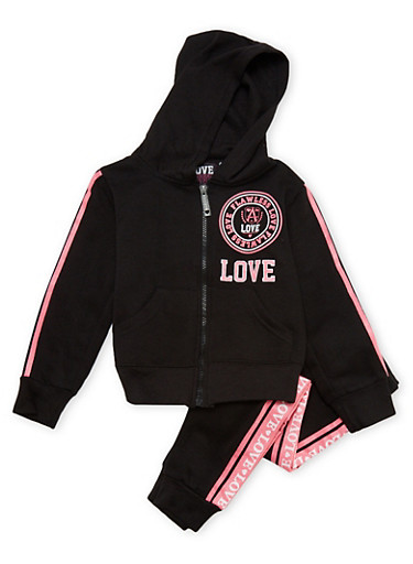 Girls 4-6x Graphic Hoodie and Joggers Set,BLACK,large