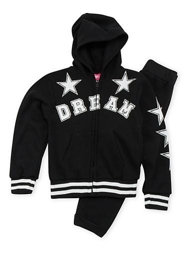 Girls 7-16 Dream Graphic Hoodie and Sweatpants Set,BLACK,large
