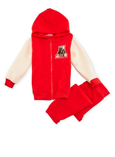 Girls 7-16 Hoodie and Sweatpants Set,RED,large