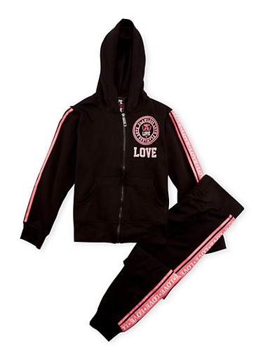 Girls 7-16 Graphic Hoodie and Joggers Set,BLACK,large