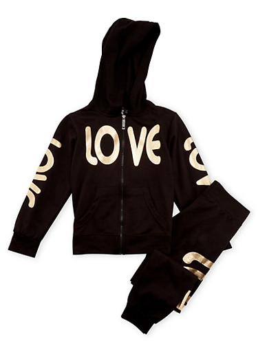 Girls 7-16 Zip-Front Hoodie and Joggers with Love Print,BLACK,large