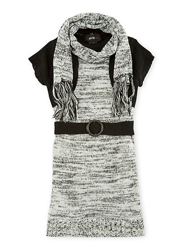 Girls 5-6x Belted Sweater Dress and Infinity Scarf Set,BLACK,large