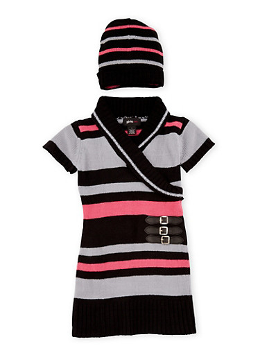 Girls 5-6x Belted Sweater Dress with Beanie Hat,BLK/CHARC,large
