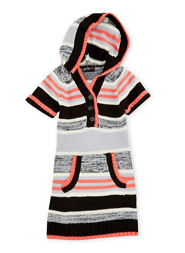 Girls 4-6x Hooded Sweater Dress with Scarf Set,BLK/PINK,large