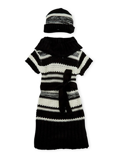 Girls 3T-6X Belted Sweater Dress with Hat Set,BLK/SILVER,large