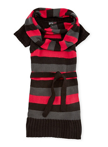 Girls 4-6x Belted Sweater Dress and Infinity Scarf Set,BLK/BERRY/CHARC,large