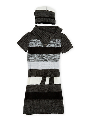 Girls 5-6x Belted Sweater Dress with Hat Set,BLK/CHARC,large