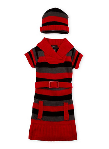 Girls 4-6x Belted Sweater Dress and Beanie Hat Set,BERRY/BLK,large