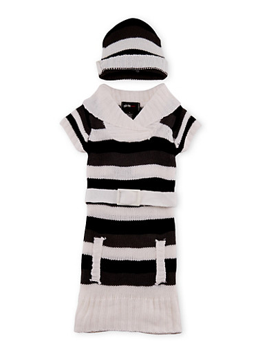 Girls 4-6x Belted Sweater Dress and Beanie Hat Set,WHT/BLK/CHARC,large