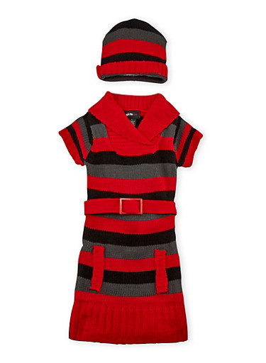 Girls 4-6x Belted Sweater Dress and Beanie Hat Set,RED/BLK,large