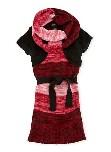 Girls 5-6x Belted Sweater Dress and Infinity Scarf Set,BLK/WINE,large