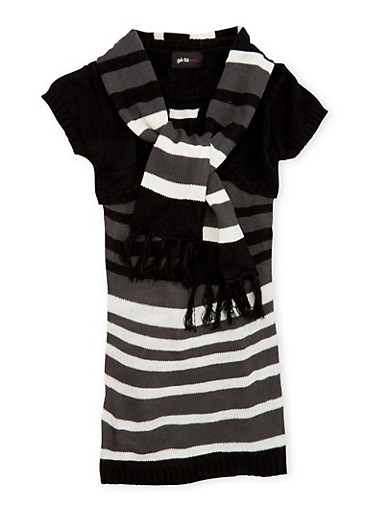 Girls 4-6x Striped Sweater Dress and Scarf,BLK/IV,large