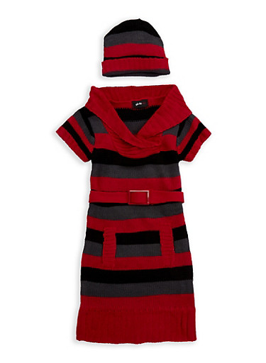 Girls 4-6x Striped Fold Over V Neck Sweater Dress,BLACK/RED,large