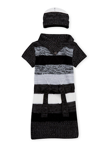 Girls 4-6x Button Neck Sweater Dress with Hat,BLACK,large