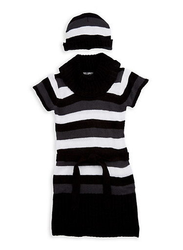 Girls 4-6x Striped Sweater Dress with Hat,WHITE,large