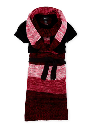 Girls 7-16 Striped Sweater Dress with Scarf,BLK/WINE,large