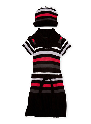 Girls 10-16 Turtleneck Dress with Beanie Hat,BLK/WHIT,large