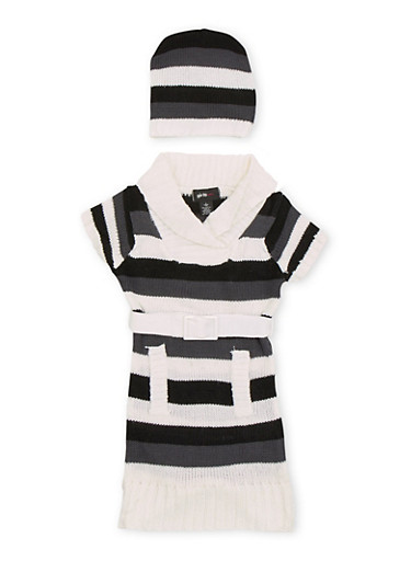 Girls 7-16 Striped Sweater Dress with Beanie Hat and Belt,WHITE,large