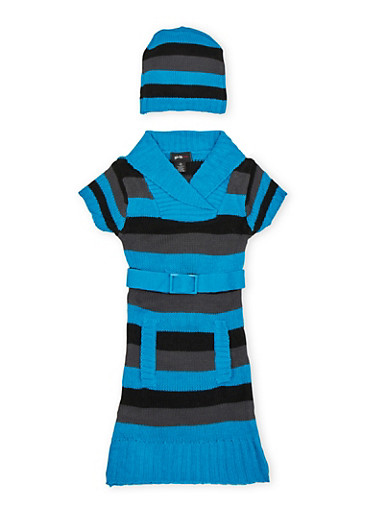 Girls 7-16 Striped Sweater Dress and Beanie Hat Set,TEAL,large