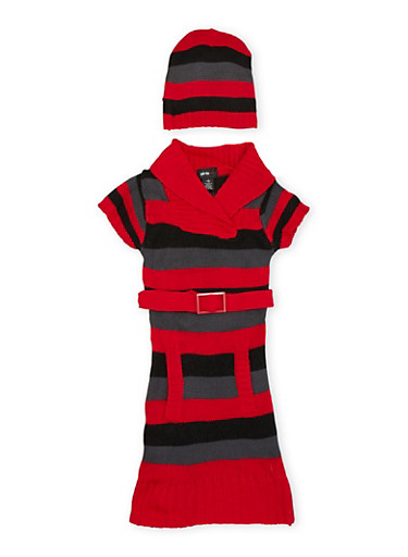 Girls 7-16 Striped Sweater Dress with Hat,RED,large