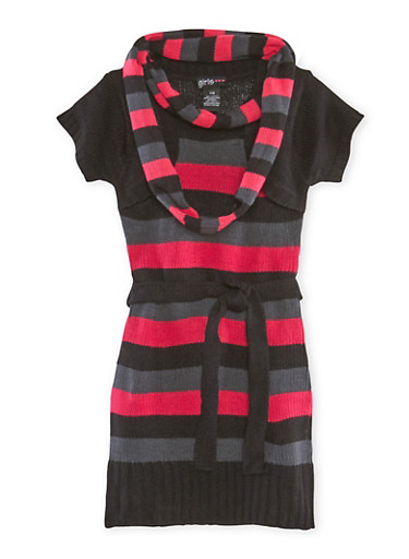 Girls 7-16 Belted Sweater Dress and Scarf Set,BLK/BERRY,large